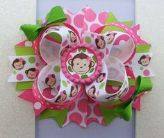 Mod Monkey Hair Bow / Mod Monkey Birthday Hair by DLovelyBOWtique, $9.99