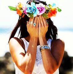 Find more Flower Garland inspo at http://www.fashionaddict.com.au/hair-accessories2/hair-flowers/flower-garlands.html