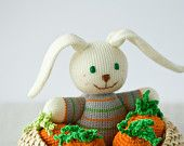 SALE Baby Bunny, Knitted Toy - Easter gift, knitted animal, baby toy, baby shower gift - FrejaToys