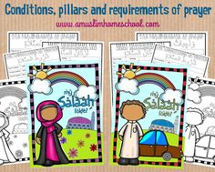 a muslim homeschool: Salaah worksheet folder printable; The conditions, pillars and requirements of prayer Learn Arabic Online, Learn Arabic Alphabet, Islam For Kids, Class Activities, Learning Resources, Teaching Ideas, Religion, Islamic Prayer, Tot School