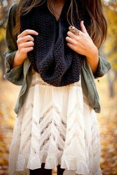 Navy crochet scarf, military jacket, light dress.