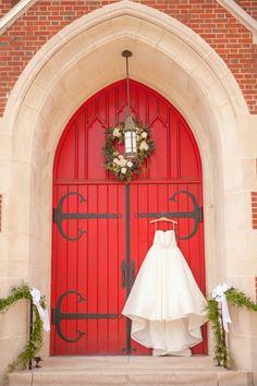Red Church Doors & Wedding Dress|Classic Blue & White Fall Wedding| Photographer: Casey Hendrickson Photography