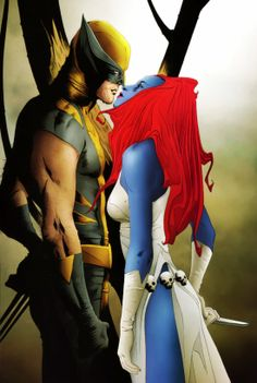 Not Jean and Logan. People need to stop writing Hollywood scripts to live out fanfiction. Keep to the tormented relationships that happened in the comics and were believable! (Wolverine and Mystique by Jae Lee) Marvel Wolverine, Marvel Comics, Marvel Dc, Wolverine Costume, Marvel Heroes, Captain Marvel, Comic Book Artists, Comic Artist, Comic Books Art