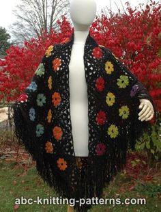 Rainbow Flowers Motif Shawl (C) Crochet Scarves, Crochet Shawl, Free Crochet, Knit Crochet, Crochet Sweaters, Shawl Patterns, Knitting Patterns, Crochet Patterns, Rainbow Flowers