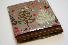 Cloth napkin with Christmas trees!  Love the non-traditional colors!