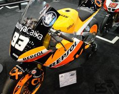 The Eskil Suter 600cc is ridden by Marc Márquez of Team Catalunya Caixa REPSOL in the Moto2 Class. MotoGp Bikes as seen at the Indianapolis Motorcycle Show and Dealer Expo in February 2013