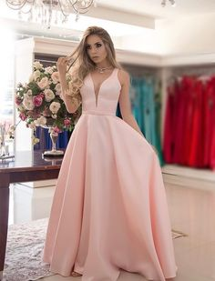 High Quality Pink Long Dresses Prom 2019 V Neck A Line Floor Length Elegant Formal Evening Gowns Cheap Wedding Party Dress Satin Bridesmaid Dresses, V Neck Prom Dresses, Pink Prom Dresses, Wedding Party Dresses, Formal Dresses, Long Dresses, Dresses Dresses, Dress Prom, Dress Outfits
