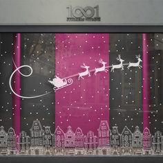 Vitrophanie noël - Ville enneigée Christmas Store Displays, Christmas Window Display, Christmas Window Decorations, Christmas Doodles, Christmas Art, School Door Decorations, Xmas Lights, Theme Noel, Window Art