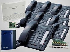 8 Panasonic KX-T7730 Black Phones + KX-TA824 System + Voice Mail/Caller ID. Advanced Hybrid Telephone System, 3 CO's, 8 Stations, Expandable to 8 CO's, 24 Stations. The KX-TA82483 expands the system to support an additional 3 incoming phone lines and 8 telephone extensions. The Panasonic KX-TA82493 caller ID card allows caller ID information to appear on the display of the proprietary analog telephones. The KX-TVA50 voice mail system uses solid-state memory i.e., there is no hard drive…