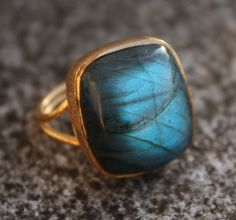 Blue Labradorite Ring Rectan... from OhKuol on Wanelo