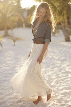 Anthropologie lace skirt and denim top by Sandy Chong - like the relaxed look