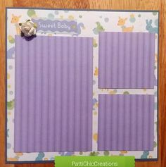 Baby Boy Pre-Made Scrapbook Album Page 8x8 Infant New Born