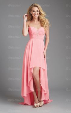 Sweetheart High To Low Ruched Beaded Chiffon Bridesmaid Dresses Allure Bridesmaid Dresses, Pink Wedding Dresses, Prom Dresses, Dress Prom, Wedding Bridesmaids, Dress Wedding, Pageant Gowns, Graduation Dresses, Dresses Uk