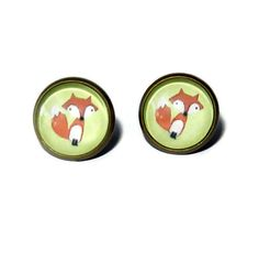 Woodland Fox Print Post Earrings Brass Plated by CloudNineDesignz, $11.75