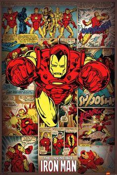"Marvel Comics The Invincible Iron Man Retro wall poster art print affiliate  24"" x 36"""
