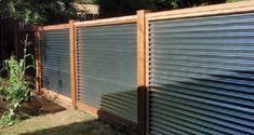 coastal privacy fence ideas - Google Search Corrugated Metal Fence, Metal Pergola, Backyard Pergola, Metal Roof, Pergola Plans, Corrugated Roofing, Pergola Roof, Backyard Landscaping, Patio