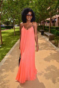 BCBG Pleated Maxi Dress. My favorite kind of look. StylePantry Fashion Blogger: Folake Kuye Huntoon.