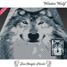 Winter Wolf crochet blanket pattern; knitting, cross stitch graph; pdf download; written counts, C2C row-by-row counts included