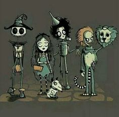 Jack Skellington as Scarecrow Corpse Bride as Dorothy Frankenweenie as Toto Edward Scissorhands as Tin Man Beetlejuice as Cowardly Lion & Tim Burton as The Wizard. Wizard of Oz ROCKS! Arte Tim Burton, Tim Burton Style, Japon Illustration, Arte Horror, Illustrations, Beetlejuice, Jack Skellington, Wizard Of Oz, Nightmare Before Christmas
