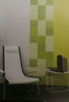 Yellow & green patterned bathroom tiles Patterned Wall Tiles, Ceramic Design, Wall Patterns, Bathroom, Chair, Yellow, Green, Modern, Furniture