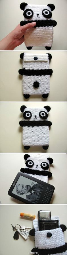 Panda crochet gadget cosy, pictures only. Crochet Panda, Crochet Bear, Crochet Animals, Crochet Cozy, Crochet Quilt, Diy Crochet, Learn To Crochet, Crochet For Kids, Crochet Mobile
