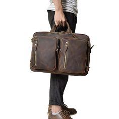 d350188e0ce1b5 Vintage Leather Mens Travel Bag Backpack Briefcase for men