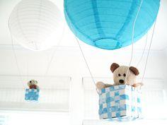 2 Hot Air Balloon Mobile, hot air balloon, Blue, Boys room decor, Ceiling hanging, Baby Boy Nursery, 3D Wall Art. $50.00, via Etsy.