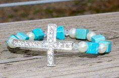 Sideways Bling Cross Turquoise/Pearl Bracelet by LidsnGlitz