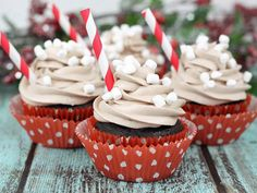 I made these Hot Cocoa Cupcakes for a party, and they were a smash hit. Marshmallow creme icing and mini marshmallows on top are the key to these treats standing out on the dessert table at your next party.