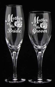 Mother of the Bride or Groom (ONE) Etched Flutes Goblet Rocks Toasting Glasses