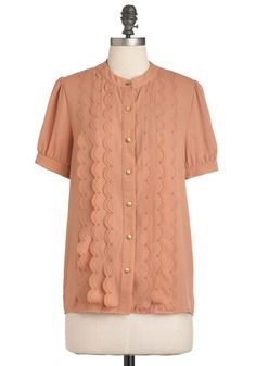 Peach Passing Day Top $62.99 - Would look great with skinny jeans, cream colored cardigan and oxfords.