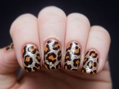 Chalkboard Nails: Blinged Out Leopard