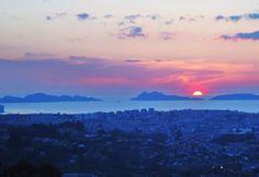 puesta de sol ria de vigo
