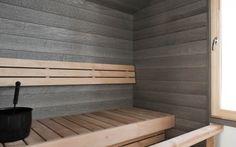 Haapa-saunapaneeli, kuultava harmaa Diy Sauna, Portable Sauna, Sauna Design, Spa Rooms, Saunas, Grey Walls, Amazing Bathrooms, My Dream Home