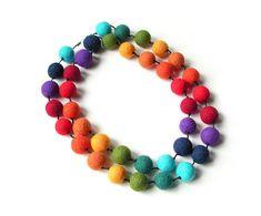 Felted necklace felt necklace felted beads felt by MarlenaRakoczy