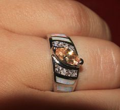 white fire opal Cz ring Gemstone silver jewelry size 6.75 engagement zircon HG