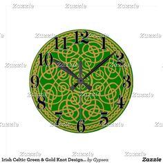 Irish Celtic Green & Gold Knot Design Clock