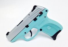 This one is a Ruger LC9 9mm handgun done in silver and Tiffany blue! Pick up yours today! - www.tzarmory.com