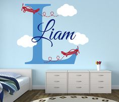 Airplanes Name Wall Decal Vinyl - By LovelyDecals - On Sale!!