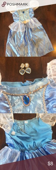 Cinderella costume with earrings Cinderella costume EUC. Matching clip on earrings. Velcro back Costumes Halloween