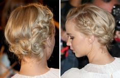 Jennifer Lawrence usa penteado romântico com tranças | girlie hair inspiration; romantic look with braids