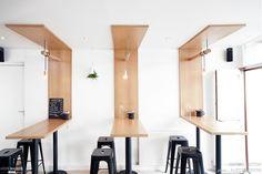Engaging division of space. Coffee Shop Bar, Coffee Shop Design, Cafe Design, Design Studio, Restaurant Interior Design, Office Interior Design, Office Interiors, Commercial Design, Commercial Interiors