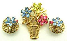 Vintage Trifari Flower Basket Brooch & Earrings