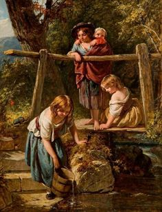 Henry Lejeune – – Pintor 4 children getting water/lighting is gorgeous French Paintings, European Paintings, Classic Paintings, Beautiful Paintings, Painting For Kids, Painting & Drawing, Autumn Scenes, Famous Art, Traditional Paintings