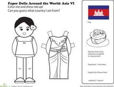 First Grade Geography Paper Dolls Community & Cultures Worksheets: Paper Dolls Around the World: Cambodia Kids Around The World, Holidays Around The World, Around The Worlds, Passport Template, Harmony Day, Faith Crafts, American Heritage Girls, Cultural Crafts, Geography Lessons