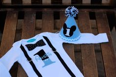 Birthday Hat Mickey Mouse Baby Blue First Birthday Party 1st Birthday Outfit Little Man. $16.50, via Etsy.