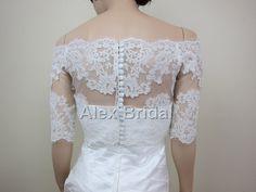 Off-Shoulder ivory Alencon Lace bolero jacket Bridal Bolero Wedding jacket wedding bolero.