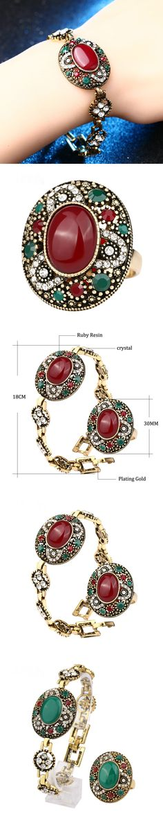 2017 New Luxury Vintage Oval Bracelets And Rings Jewellery Set For Women Mosaic Crystal Antique Gold Color Turkish Jewelry