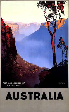Australia THE Blue Mountains Vintage OLD Repro Travel Poster | eBay