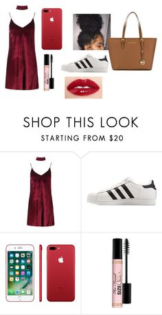 """Untitled #151"" by lalashotspot on Polyvore featuring Boohoo, adidas, Apple, Too Faced Cosmetics and MICHAEL Michael Kors"
